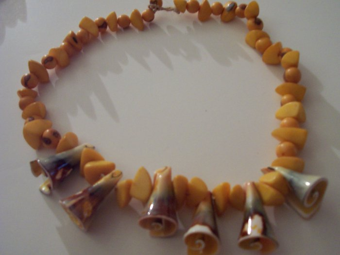 Brazilian Wood Bead Shell Boho Hand Crafted Choker Necklace