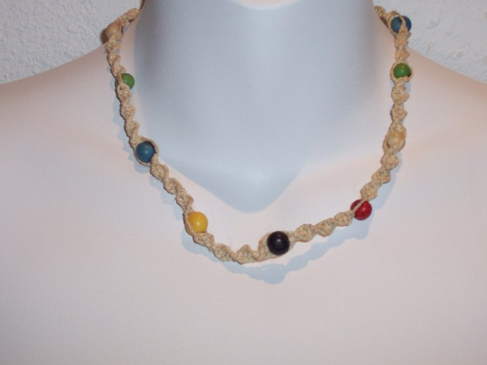 Brazilian Wood Bead Crochet Boho Hand Crafted Choker Necklace