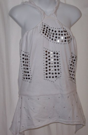 LYNNE LARSON Grecian Rope Metal Sequence Top Tunic S