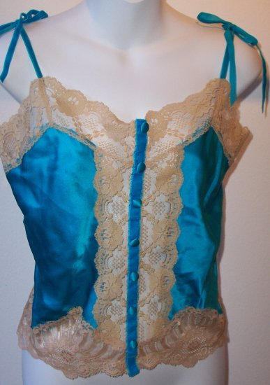 ANNA SUI Silk Lace Turquoise Top Camisole Anthropologie