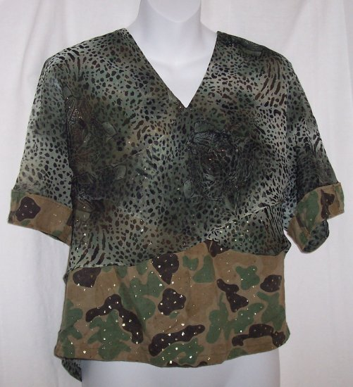Vintage Gwen Camo Canvas Chiffon Shirt Top S-M