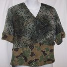 Vintage Gwen Camo Canvas Chiffon Shirt Top S-M