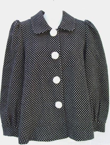 MANOUSH Wool Black Polka Dot Swing 50's Retro Coat M