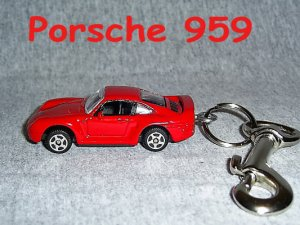 PORSCHE 959 CAR  KEYCHAIN & SWIVEL CLIP (FREE SHIPPING)