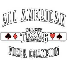 All American Champion Texas Holdem Poker T Shirt Tee Sizes 3xl ( Xxxl ), 4xl ( Xxxxl ) Style#6