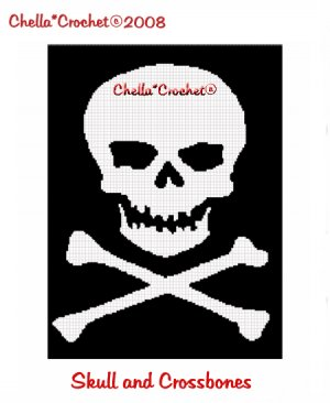 Crochet Pattern for Skull with Crossbones Applique by adorkable1