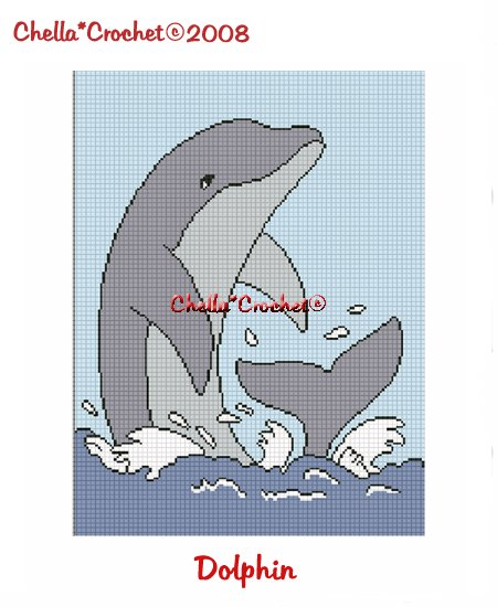 CHELLA*CROCHET Dolphin Porpoise Afghan Crochet Pattern Graph Emailed to you