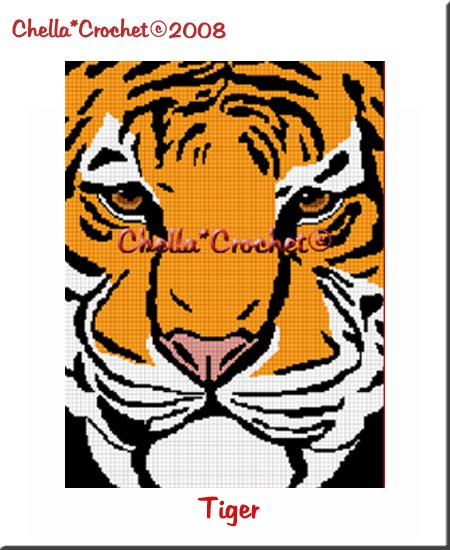 CHELLA*CROCHET Bengal Tiger Close Up Afghan Crochet Pattern Graph