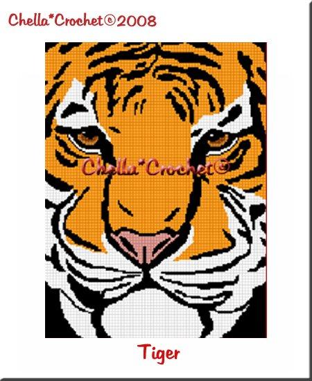 CHELLA*CROCHET Bengal Tiger Close Up Afghan Crochet Pattern Graph