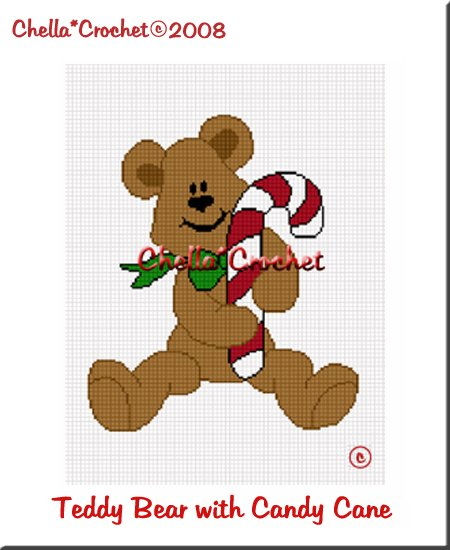 CHELLA*CROCHET Teddy Bear With Candy Cane Christmas Afghan Pattern Graph Crochet Emailed to you