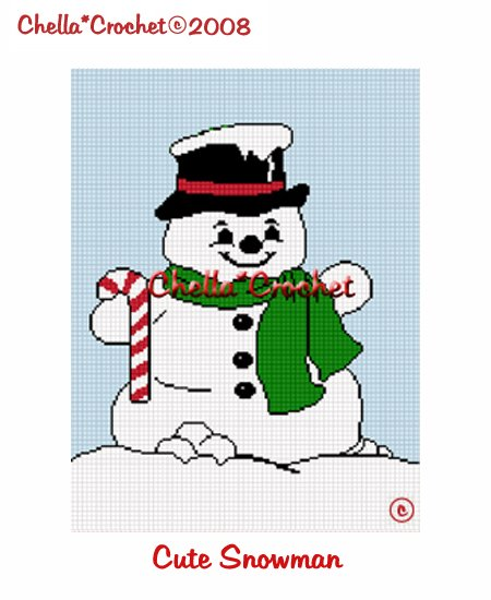 CHELLA*CROCHET Cute Snowman Christmas Afghan Crochet Pattern Graph emailed to you
