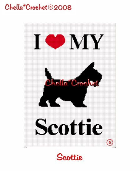 CHELLA*CROCHET I Love My Scottie Afghan Crochet Pattern Graph Emailed to you