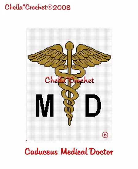 CHELLA*CROCHET Caduceus MD Medical Doctor Afghan Crochet Pattern Graph Emailed to you