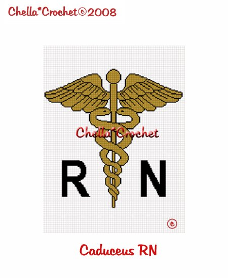 CHELLA*CROCHET Caduceus RN Medical Nurse Afghan Crochet Pattern Graph Emailed to you