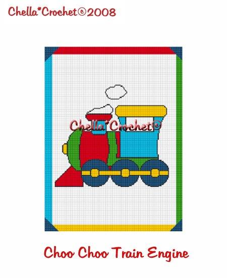 CHELLA*CROCHET Afghan Pattern Graph Crochet Choo Choo Train Engine EMAILED to you