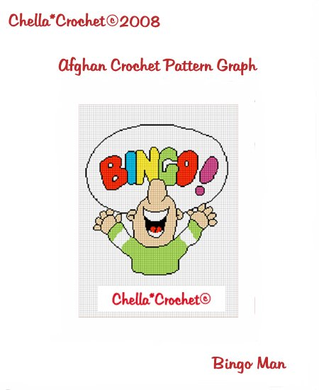 CHELLA*CROCHET Afghan Pattern Graph Crochet Bingo Man Emailed to you