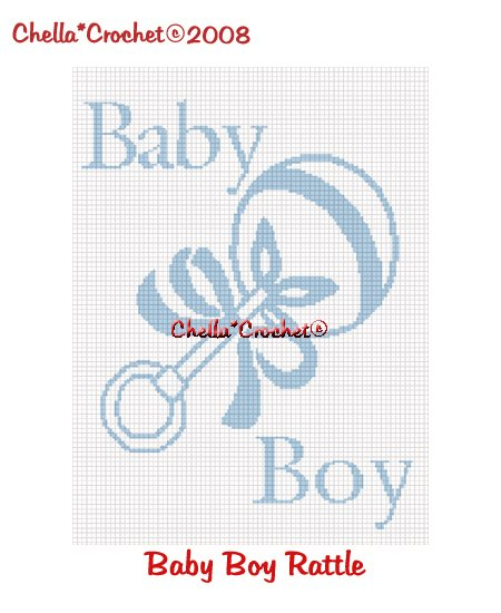 CHELLA CROCHET It's a Boy Rattle  Afghan Crochet Pattern Graph Emailed