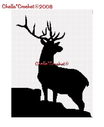 CHELLA*CROCHET  Deer Buck Silhouette Afghan Crochet Pattern Graph .PDF EMAILED