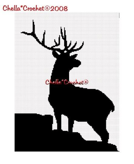 CHELLA*CROCHET  Deer Buck Silhouette Afghan Crochet Pattern Graph .PDF EMAILED
