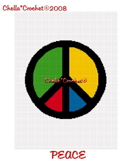 cHELLA*CROCHET Colorful Peace Sign Symbol Afghan Crochet Pattern Graph