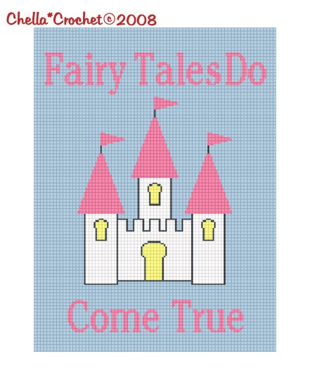 CHELLA*CROCHET Fariy Tales Do Come True Princess Castle Afghan Crochet Pattern Graph .PDF EMAILED