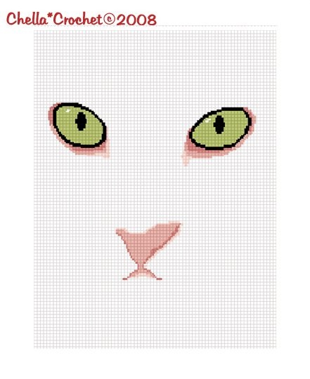 CHELLA*CROCHET Green Eyed Cat AFghan Crochet Pattern Graph .PDF EMAILED