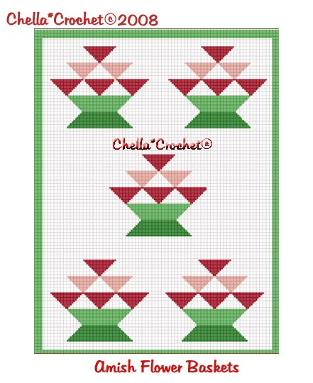 CHELLA*CROCHET Amish Flower Basket Quilt Look Afghan Crochet Pattern Graph .PDF EMAILED