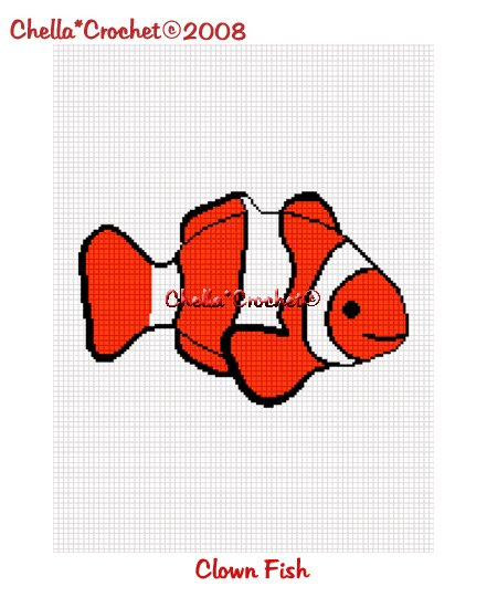 CHELLA*CROCHET Clown Fish Afghan Crochet Pattern Graph .PDF EMAILED