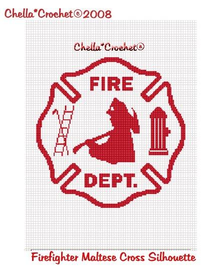 CHELLA CROCHET Firefighter Maltese Cross WHITE SILHOUETTE Afghan Crochet Pattern Graph .PDF EMAILED