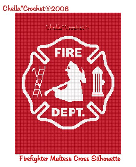 CHELLA CROCHET Firefighter Maltese Cross RED SILHOUETTE Afghan Crochet Pattern Graph .PDF EMAILED
