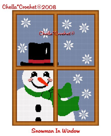 CHELLA*CROCHET  Snowman in Window Christmas Afghan Crochet Pattern Graph emailed to you