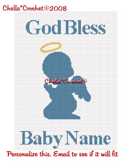 CHELLA*CROCHET God Bless PERSONALIZE Baby Name Praying Angel Afghan Crochet Pattern Graph .PDF