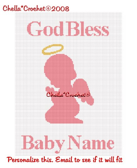 CHELLA*CROCHET God Bless PERSONALIZE Baby Name Praying Angel GIRL Afghan Crochet Pattern Graph