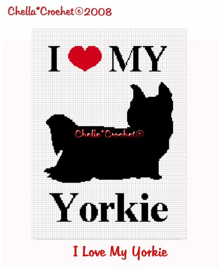 CHELLA*CROCHET I Love My Yorkie Afghan Crochet Pattern Graph .PDF EMAILED