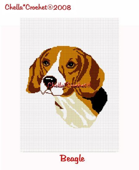 CHELLA*CROCHET Beagle Dog Afghan Crochet Pattern Graph Emailed .PDF