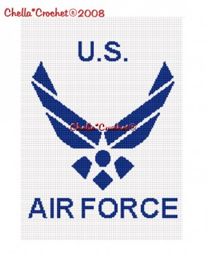 Chella*Crochet US Air Force Military Afghan Crochet Pattern Graph .PDF EMAILED