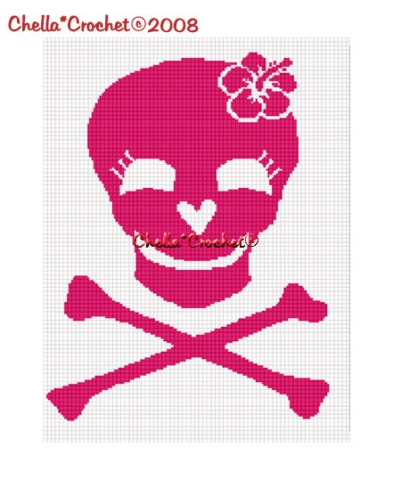 CHELLA*CROCHET Pink Skull Crossbones w/Hibiscus Flower Afghan Crochet Pattern Graph emailed .pdf
