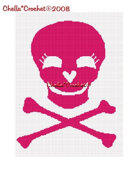 CHELLA*CROCHET Pink Skull Crossbones Afghan Crochet Pattern Graph emailed .pdf
