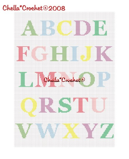 CHELLA*CROCHET Alphabet ABC's Pastel Afghan Crochet Pattern Graph EMAILED .PDF