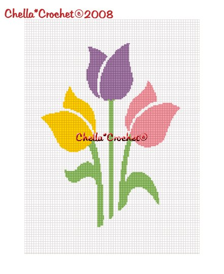 CHELLA*CROCHET SPRING COLORS TULIPS FLOWERS AFGHAN CROCHET PATTERN GRAPH EMAILED .PDF