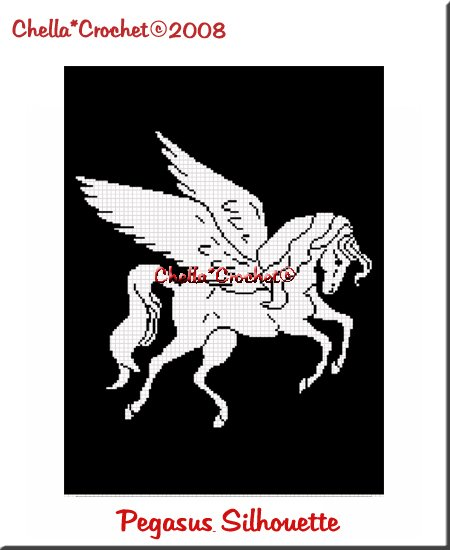CHELLA*CROCHET Pegasus Winged Horse Afghan Crochet Pattern Graph EMAILED .PDF