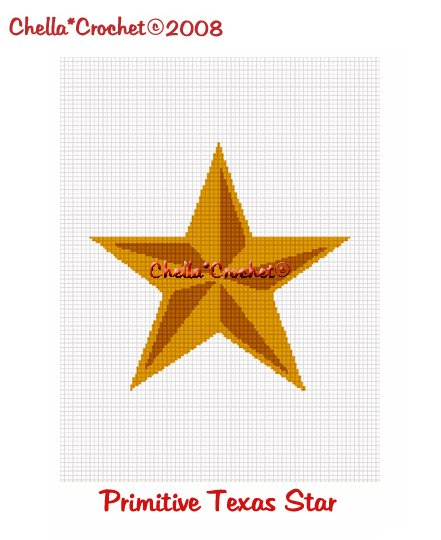 CHELLA*CROCHET Primitive Rustic Texas Star Afghan Crochet Pattern Graph EMAILED .PDF