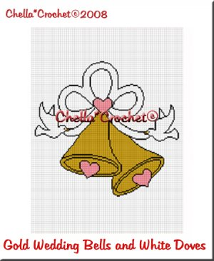 CHELLA*CROCHET Wedding Bells Gold Color Doves Afghan Crochet Pattern Graph EMAILED .PDF