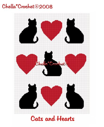 CHELLA*CROCHET Cat Cats Heart Hearts Afghan Crochet Pattern Graph Emailed .PDF
