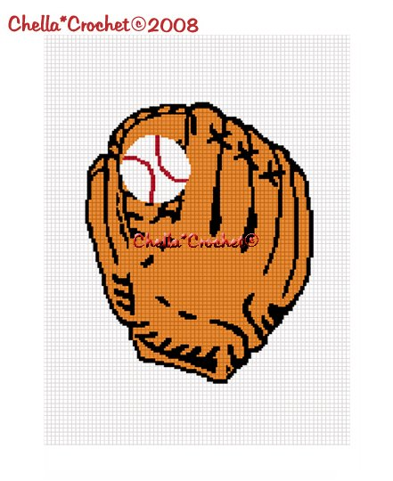 CHELLA*CROCHET Baseball Glove and Ball Afghan Crochet Pattern Graph EMAILED .PDF