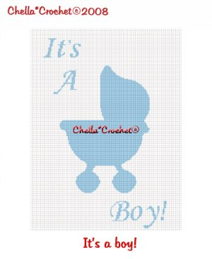 CHELLA*CROCHET It's a Boy Baby Stroller Silhouette Afghan Crochet Pattern graph EMAILED .PDF