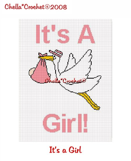 CHELLA*CROCHET It's a Girl Stork Bringing Baby Home Afghan Crochet Pattern Graph EMAILED .PDF