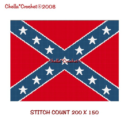 CHELLA*CROCHET Confederate Rebel Flag Afghan Crochet Pattern Graph EMAILED .PDF