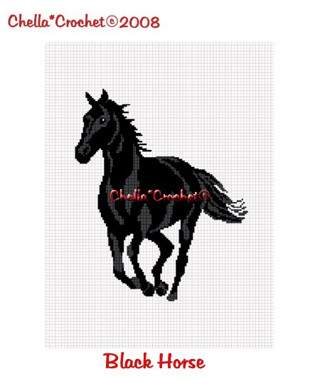 CHELLA*CROCHET Horse Stallion Mare Black Afghan Crochet Pattern graph EMAILED .PDF