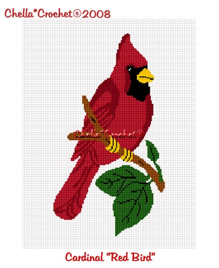 CHELLA*CROCHET Cardinal Red Bird Afghan Crochet Pattern Graph EMAILED .PDF